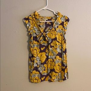 Purple & Gold Floral Anthro Top